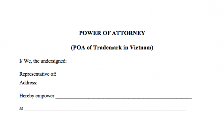 Form POA Trademark in Vietnam, Power of Attorney for Trademark in Vietnam